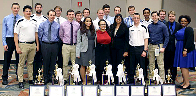 The 2015 AITP team at National Collegiate Conference, with their awards.