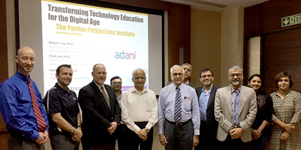 The Purdue Polytechnic contingent with Adani leadership.