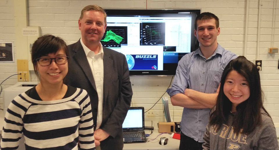 Joelle Chia, Prof. Tim Ropp, Steven Pugia, and Keyrse Deng, with award-winning new software Buzzle.