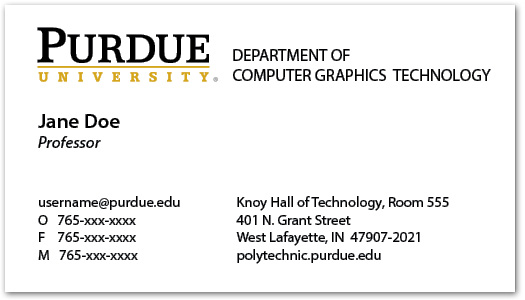 Business Cards and Name Badges Purdue Polytechnic Institute – Name Card Example