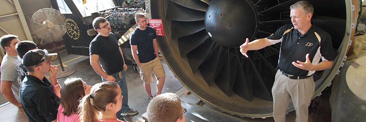 Aviation Technology students learn about turbine engines.