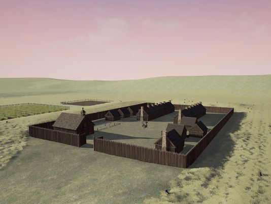 CGT students' rendering of the original Fort Ouiatenon