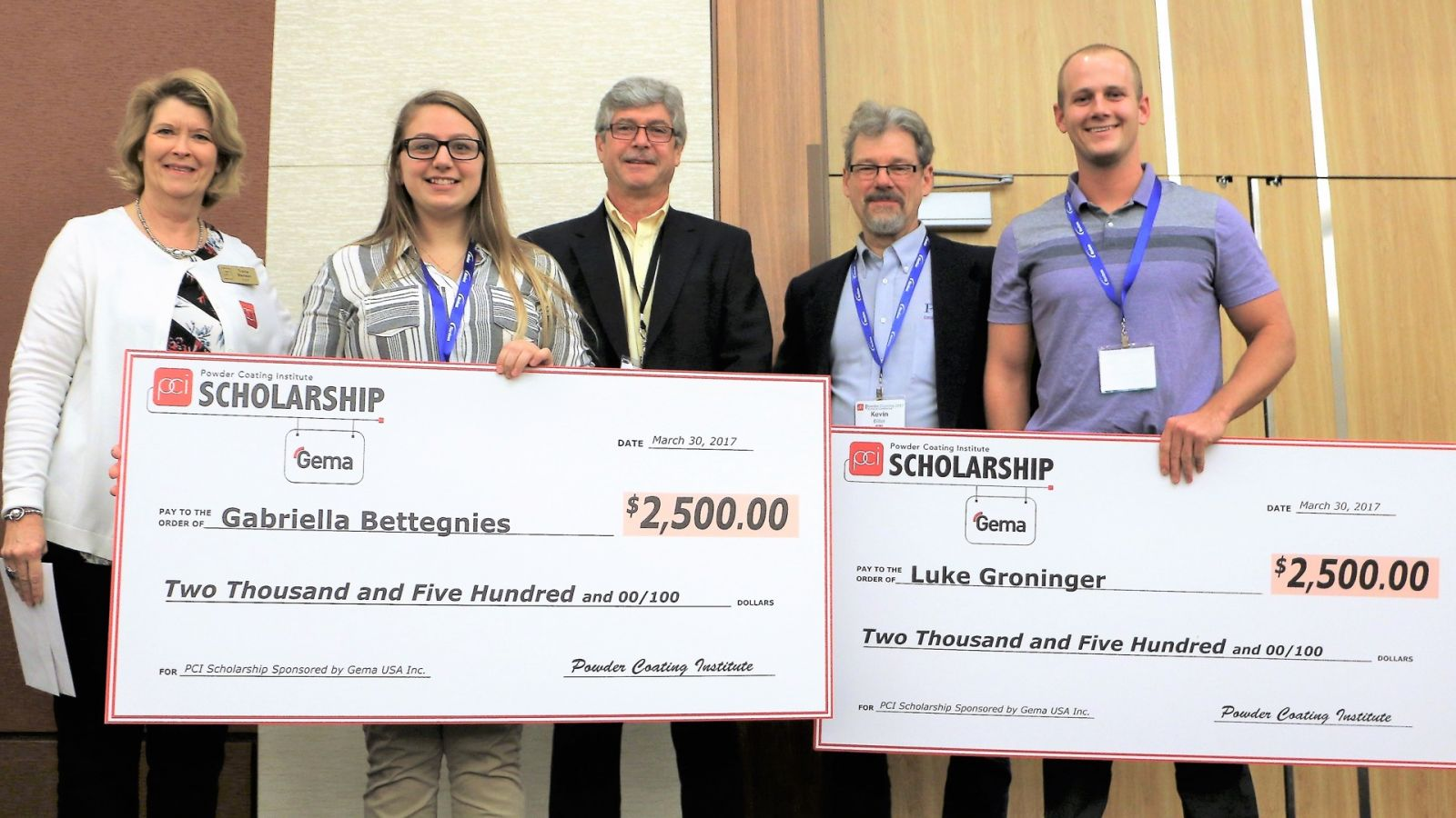 Trena Benson, executive director of PCI, Chris Merritt, and Kevin Biller, chair of PCI Future of Technology subcommittee, present the PCI/Gema scholarship awards to Gabriella Bettegnies and Luke Groninger.