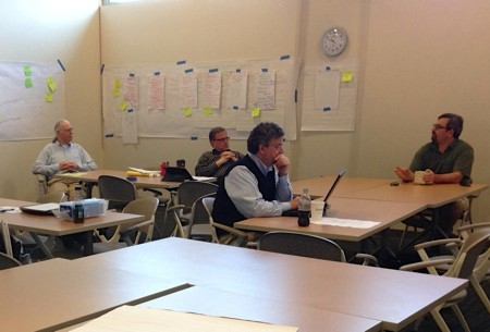 Olin College's Mark Somerville, Jon Stolk, and Rob Martello facilitate a workshop with Purdue Polytech faculty fellows