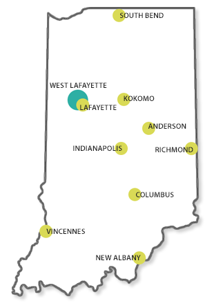 Map of Indiana with College of Technology locations highlighted.