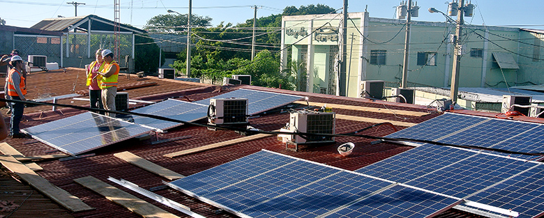 Students installed 20 solar panels as part of their Nicaragua proejct. (Courtesy photo)