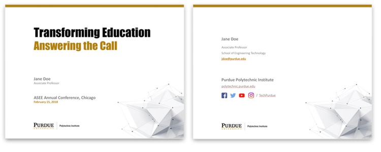 Powerpoint template purdue polytechnic institute above left an example use of the presentation title slide above right consider using this contact info slide at the end of your presentation toneelgroepblik Image collections