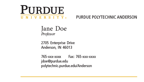 Business cards and name badges purdue polytechnic institute for Examples of good business cards