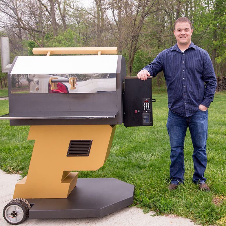 Bryan Miller and his thermoelectric grill
