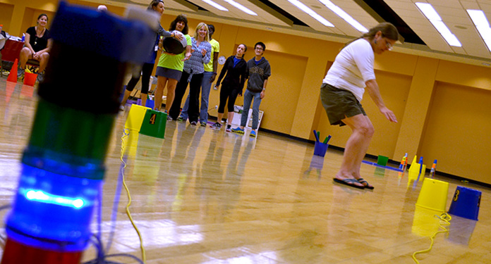 Teachers test their exergames at the College of Charleston training in June.
