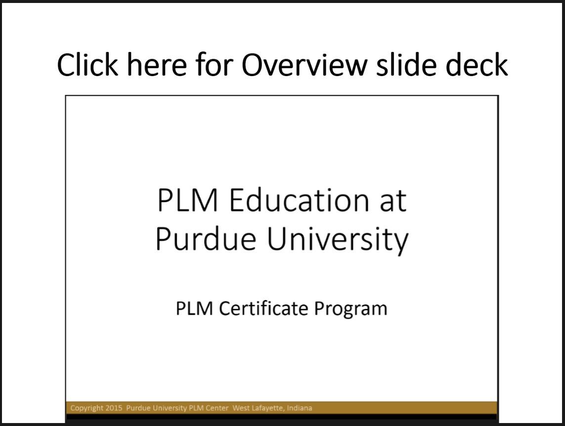 Purdue PLM Certificate Program Overview