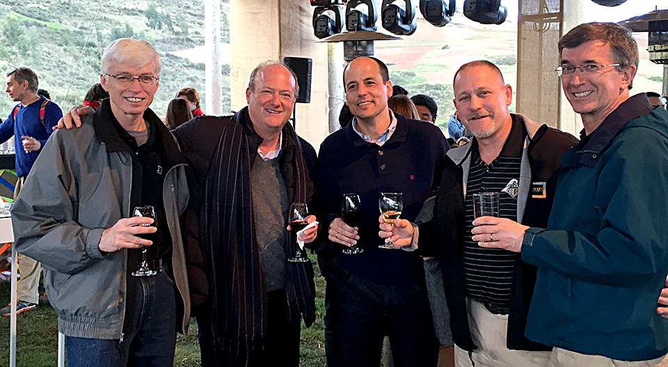 Toasting the Purdue-UTEC partnership during the UTEC campus inauguration, Dec. 29, 2014, were Gary Bertoline, dean of the College of Technology at Purdue University; Eduardo Hochschild, founder of the UTEC; Carlos Hereen, CEO of UTEC; Robert Cox, associate dean for globalization in the College of Technology at Purdue University; Mike Brzezinski, dean of international programs at Purdue University. (Courtesy photo)