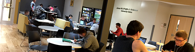 Students take advantage of the new Robinson University Union in New Albany.