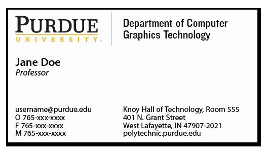 business cards purdue polytechnic institute