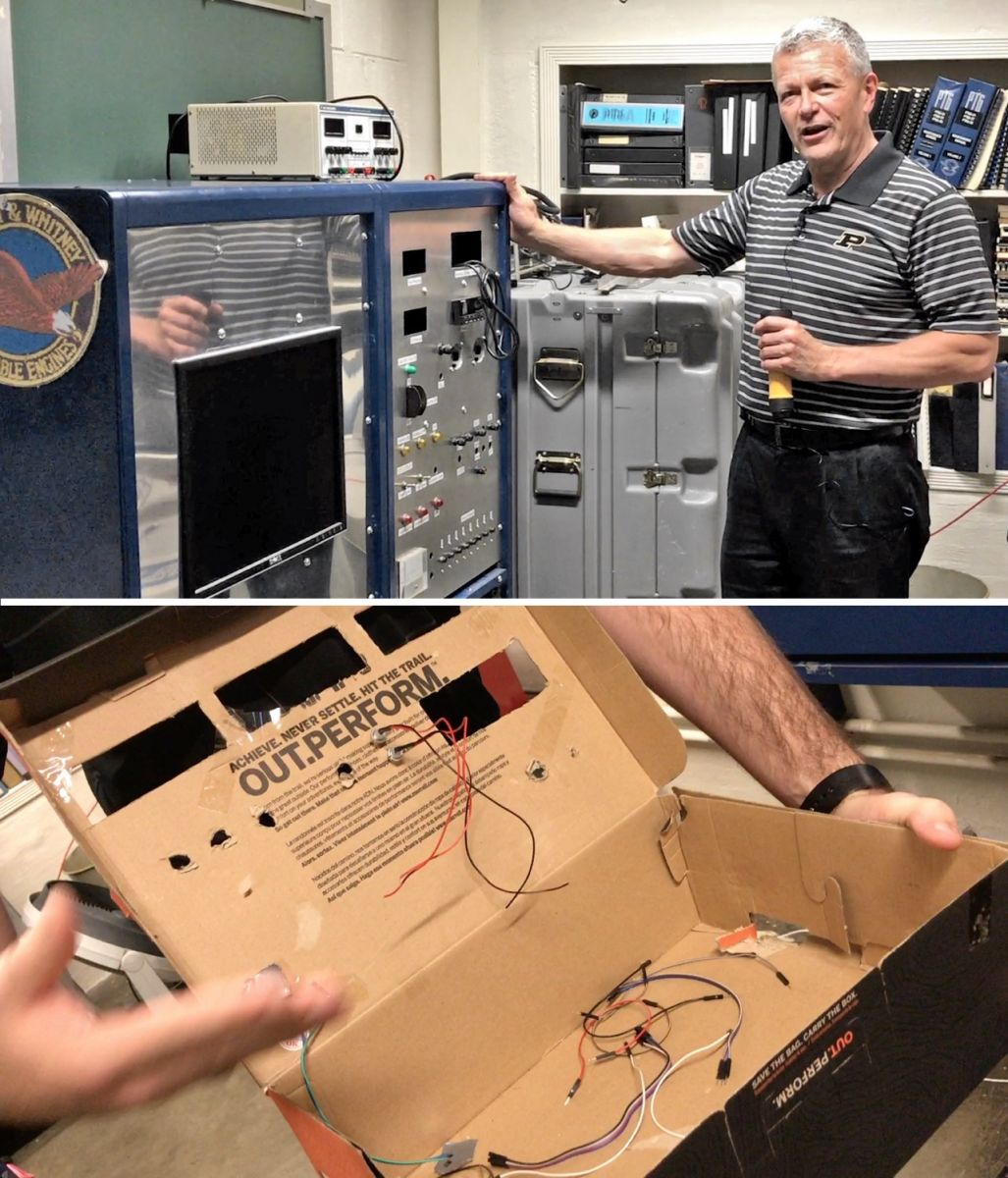 Top: Mike Davis points to racks of old equipment replaced by the microcontroller. Bottom: Gear inside the original shoebox prototype was relocated to a metal enclosure.