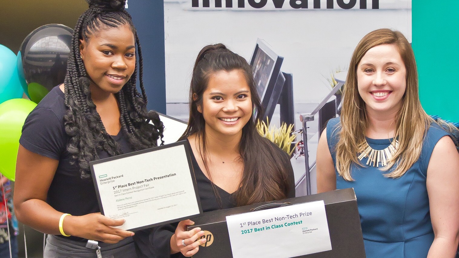 Abilene Perez (center), with other student interns at Hewlett Packard Enterprise