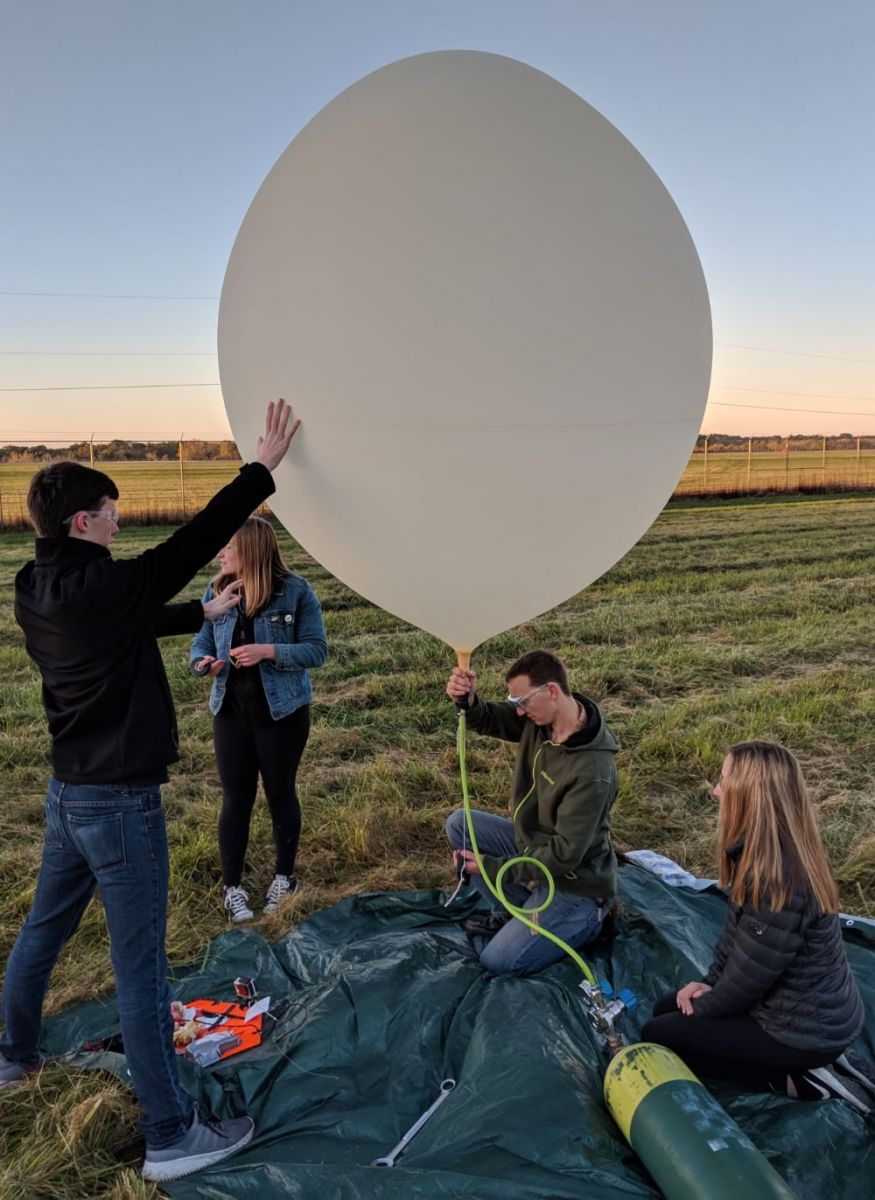Purdue's AMET team prepares a high-altitude balloon for launch