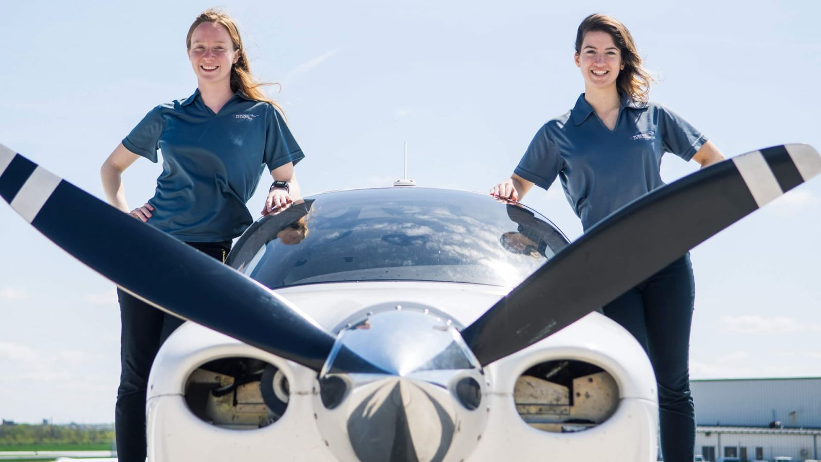 Pilot Tiffany Imhoff and co-pilot Nina Bouthier, both Professional Flight program majors at Purdue, will be representing the university among the field of teams in this year's Air Race Classic. (Purdue University photo/ Christopher Konecnik)