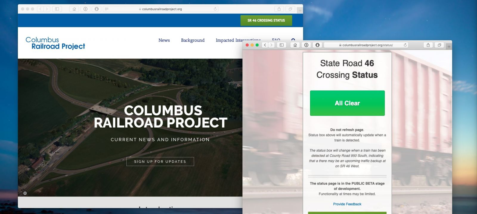 Columbus Railroad Project & SR 46 Crossing Status web pages