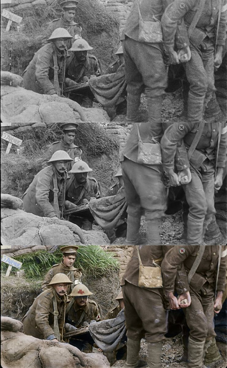 "The progression from the original to the final colorized image in a moment from Peter Jackson's acclaimed WWI documentary ""They Shall Not Grow Old,"" a Warner Bros. Pictures release. (Courtesy of Warner Bros. Pictures. © 2018 Imperial War Museum. Used with permission.)"