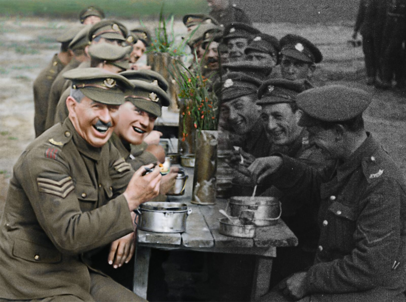 "A before and after image showing the original film on the right and the restored and colorized image on the left in a moment from Peter Jackson's acclaimed WWI documentary ""They Shall Not Grow Old,"" a Warner Bros. Pictures release. (Courtesy of Warner Bros. Pictures. © 2018 Imperial War Museum. Used with permission.)"