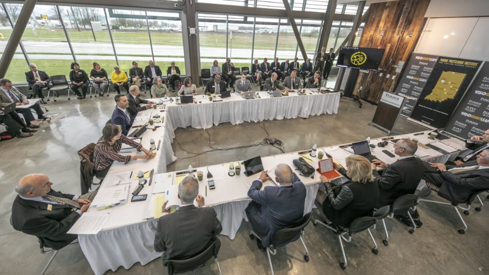 Purdue's Board of Trustees meets at Purdue Polytechnic Anderson in April 2019.