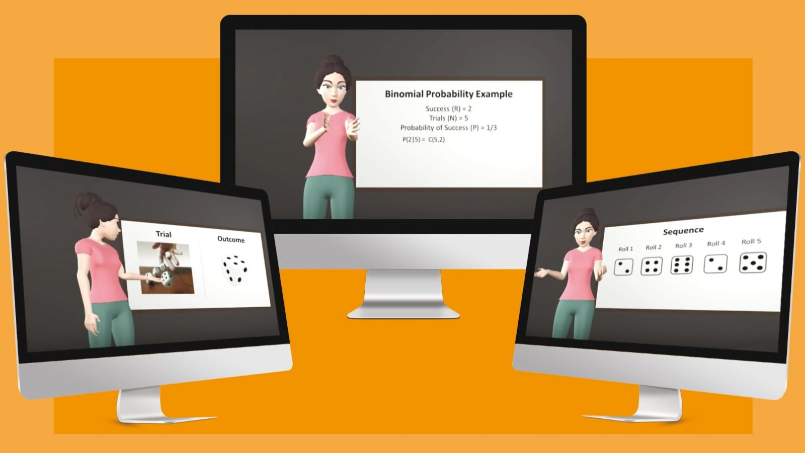 "Frames extracted from the animation featuring pedagogical agent ""Luna"" giving a lecture on binomial probability and displaying a positive-active emotional design (open/forward body poses)"
