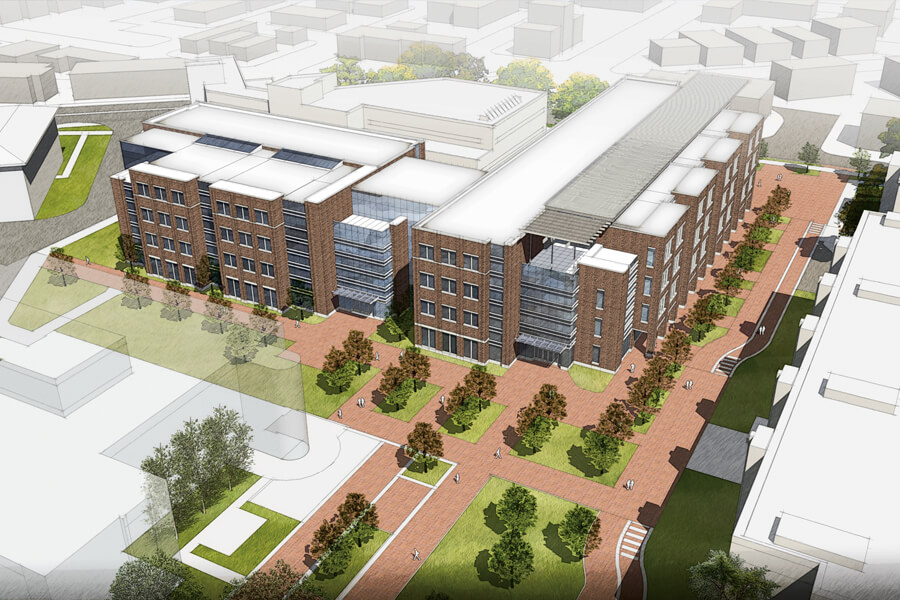 An aerial view of the project, looking northeast. Knoy Hall of Technology is immediately behind the new building. These initial renderings are subject to change.