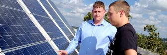 Students and solar panels