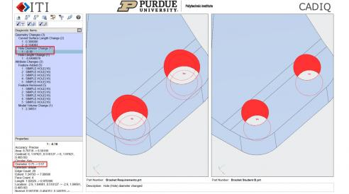 CADIQ software highlights the differences in the 3D product models that students create compared to the models they were assigned to replicate.