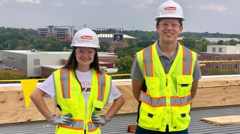 Purdue students Maura Gibbons and Jared King served as construction advocates for Meredith Hall South and Griffin Hall North, two new residence halls currently under construction. (Purdue University Residences/Liz Evans)