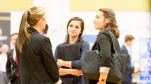Students discuss job opportunities at the CM Career Fair