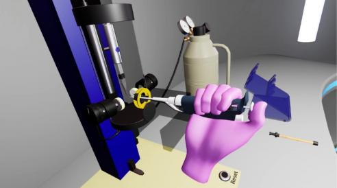 """Victor Chen's research team is developing """"Virtual Reality Augmented Cryo-EM Training,"""" a tool to familiarize users with cryo-electron microscopy equipment."""