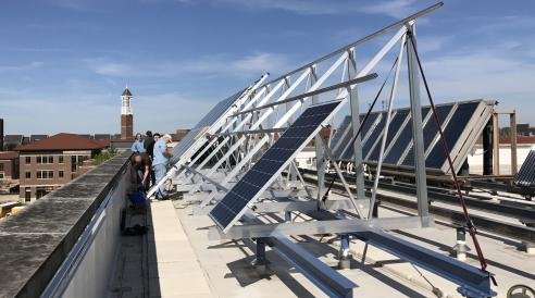 New solar array installation on Knoy rooftop