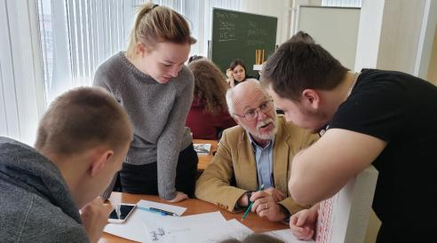 Phil Sanger with students in Russia