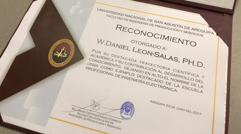 National University of Saint Augustine (UNSA) recognition of Daniel Leon-Salas